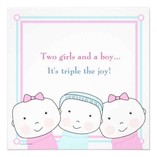 Triplets Girl Boy Pink Blue Baby Shower Invitation (back side)