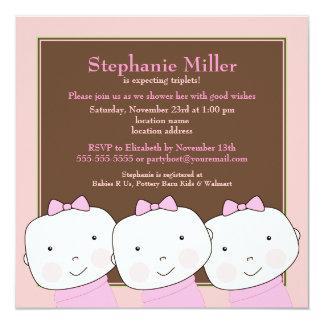 Triplets Girl Pink Brown Baby Shower Invitation