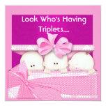 TRIPLETS GIRLS BABY SHOWER  INVITATION