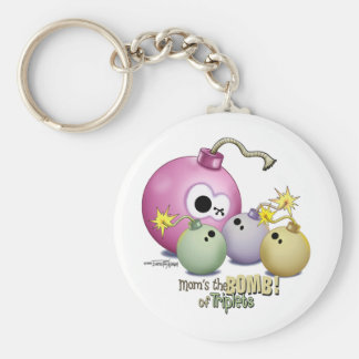 Triplets Mom's the Bomb keychain