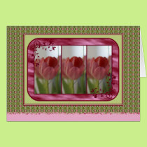Triplets of tulips card