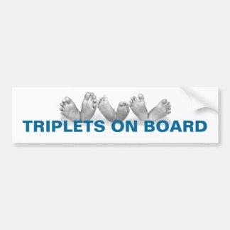 TRIPLETS ON BOARD BUMPER STICKER