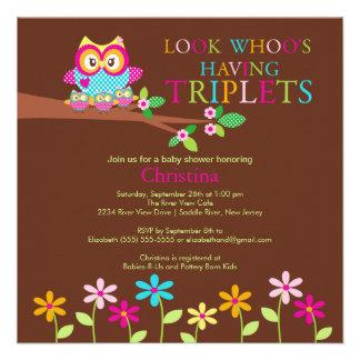 Triplets Owl Baby Shower Invitations