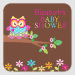 Triplets Owl Thank You Baby Shower  Square Sticker