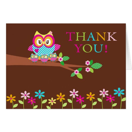 Triplets Owl Thank You Note Card
