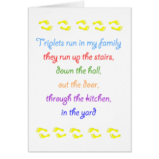 Triplets run in my family  footprints notecard