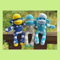 Triplets Sock Monkey Greetingcard Card