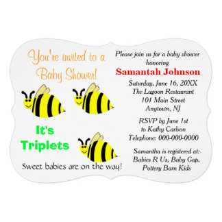 Triplets Yellow Bumble Bee Baby Rattle Baby Shower Custom Announcements