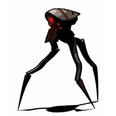 war of the worlds alien tripod. design featuring an illustration of a giant alien tripod war machine.