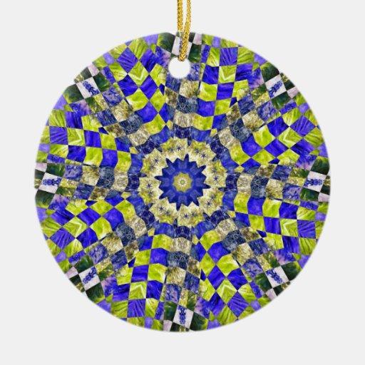 Trippy Algae Quilt Feb 2013 Double-Sided Ceramic Round Christmas Ornament