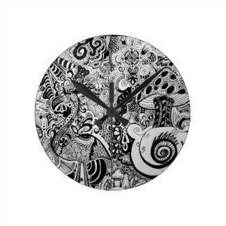 Trippy Art Design Round Clocks