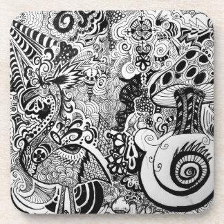 Trippy Art Design Drink Coasters