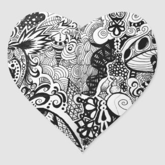 Trippy Art Design Heart Sticker