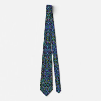 Trippy Blue and Green Geometric Abstract Tie