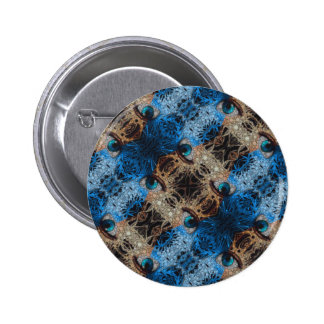 Trippy Blue Eye Abstract Button