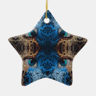 Trippy Blue Eye Abstract Ceramic Ornament