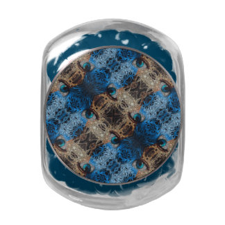 Trippy Blue Eye Abstract Glass Candy Jar