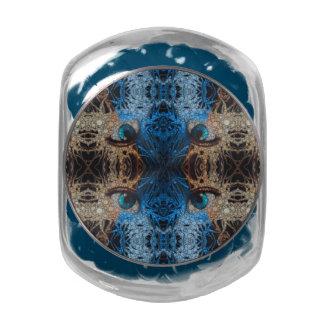 Trippy Blue Eye Abstract Glass Candy Jar
