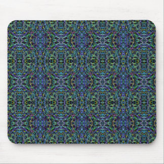 Trippy Blue Green Quilt Geometric Mouse Pad