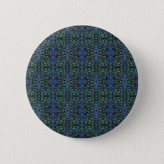 Trippy Blue Green Quilt Geometric Pinback Button