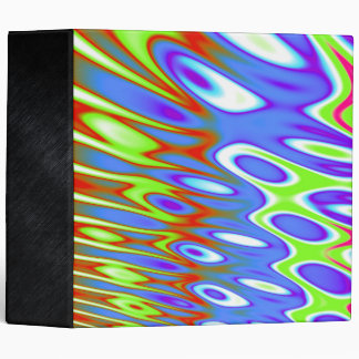 Trippy Blue Green White Abstract 3 Ring Binder