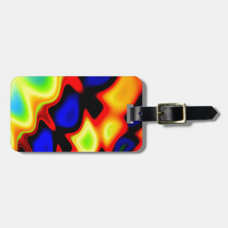 Trippy Blue Red Yellow Abstract Luggage Tag