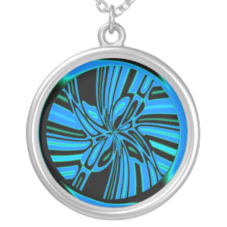 Trippy Blue Tunnel Round Pendant Necklace