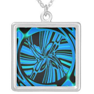 Trippy Blue Tunnel Square Pendant Necklace
