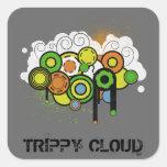 Trippy Cloud Customizable Square Sticker