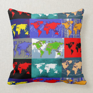trippy colorful world maps pattern throw pillow