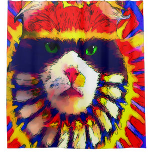 Trippy Fantasy Tribal Rainbow Cat Shower Curtain