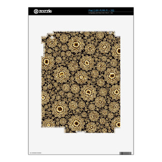 trippy floral golden (C) Skins For The iPad 2