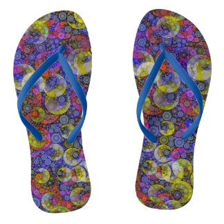 Trippy Florescent Abstract Flip Flops