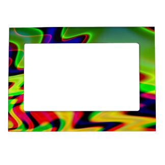 Trippy Florescent Abstract Waves Magnetic Photo Frame