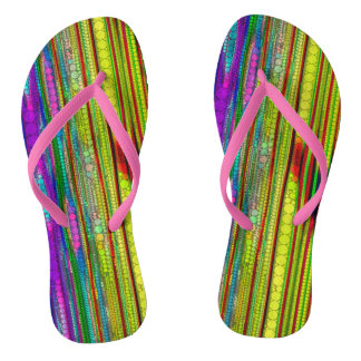 Trippy Florescent striped abstract Flip Flops