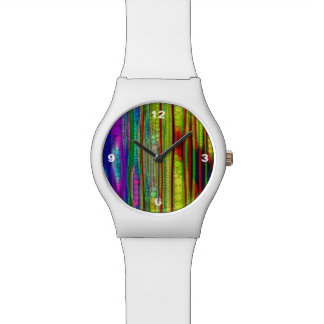 Trippy Florescent striped abstract Watches