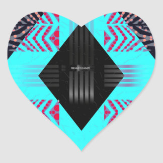 Trippy Florescent Turquoise Zebra Abstract Heart Sticker