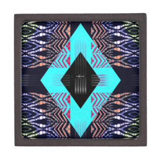 Trippy Florescent Turquoise Zebra Abstract Keepsake Box