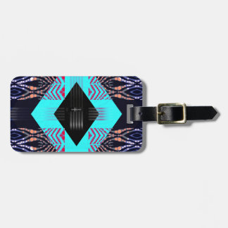 Trippy Florescent Turquoise Zebra Abstract Luggage Tag