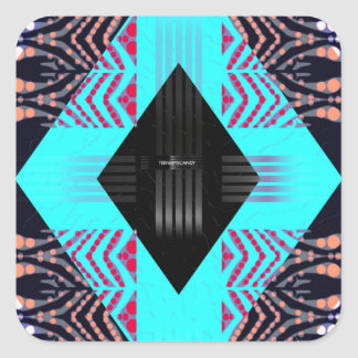 Trippy Florescent Turquoise Zebra Abstract Square Sticker