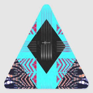 Trippy Florescent Turquoise Zebra Abstract Triangle Sticker