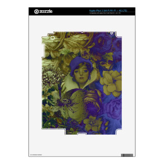 Trippy Florescent Vintage Woman Flower Decal For iPad 3