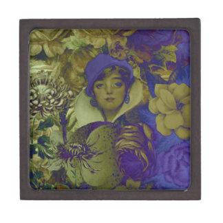 Trippy Florescent Vintage Woman Flower Gift Box