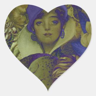 Trippy Florescent Vintage Woman Flower Heart Sticker