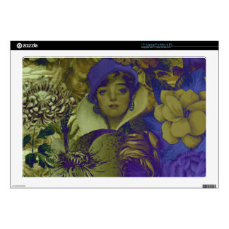 Trippy Florescent Vintage Woman Flower Laptop Skins