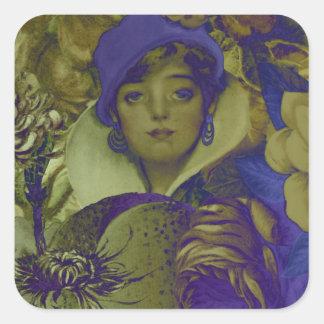 Trippy Florescent Vintage Woman Flower Square Sticker