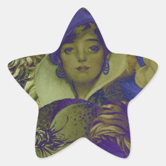 Trippy Florescent Vintage Woman Flower Star Sticker
