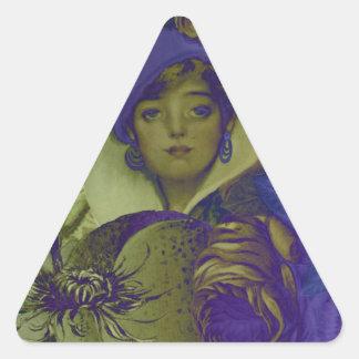 Trippy Florescent Vintage Woman Flower Triangle Sticker