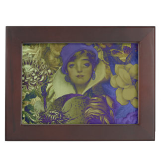 Trippy Florescent Vintage Woman Keepsake Box