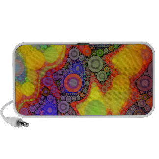 Trippy Florescent Yellow Orange Blue Circle Abstra Notebook Speakers